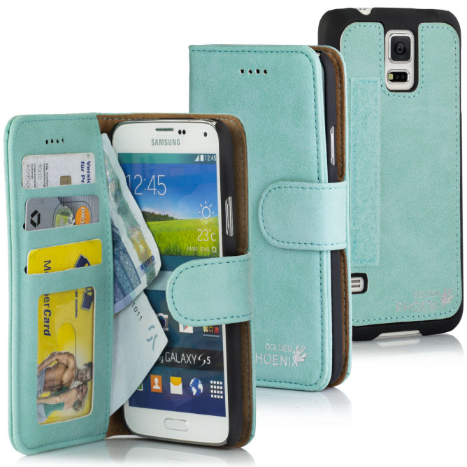 Golden Phoenix Klassik und Royal Samsung Galaxy S5 Mini Leder-Etui Royal Wallet-Case Wildleder Farben